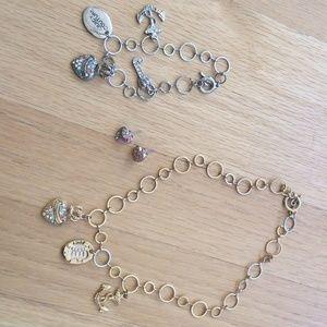 Juicy Couture trio necklace, bracelet earrings